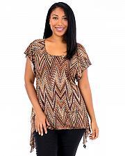Buy Top Asymmetrical Women PLUS SIZE 3X BRITTANY BLACK Cap Sleeves Tunic Zigzag