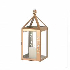 "Buy *18526U - Rose Gold Metal Frame FAMILY Stencil Cut 13.8"" Pillar Candle Lantern"