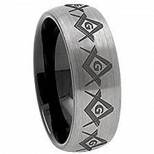 Buy coi Jewelry Tungsten Carbide Dome Masonic Ring