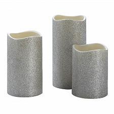 "Buy :11009U - Silver Glitter Flameless 4"" 5"" 6"" LED Pillar Candle Set Of 3"