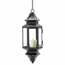 Buy 38469U - Hanging Moroccan Style Floral Cutout Candle Lantern Metal Glass