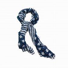"Buy *16251U - Navy Blue & White Vogue 71""x31"" Scarf Polyester"