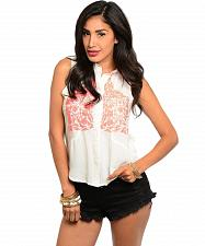 Buy Womens Shirt Button Down SIZE S M L White Embroidered Front Sleeveless PASTEL