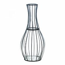 """Buy *18243U - Tall 15"""" Clear Glass & Metal Wrap Frame Accent Vase"""