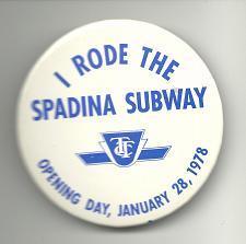 Buy Spadina Subway 1978 Toronto Collectible Pinback Button Pin Vintage