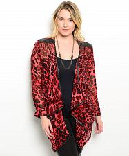 Buy Womens Wrap Swing Cardigan Plus Size 2XL Sheer Asymmetrical Red Animal Print