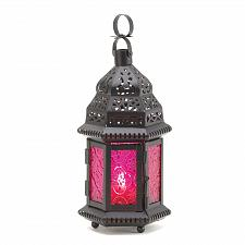 Buy 15221U - Fuchsia Glass Moroccan Style Black Candle Lantern