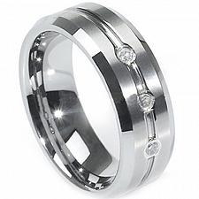 Buy coi Jewelry Tungsten Carbide Three-stone Ring - TG1437(Size:US5/8.5)