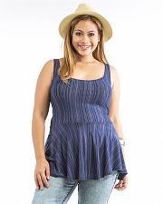 Buy Peplum Knit Top Women Size 1XL 2XL 3XL JD FASHION Striped Blue Sleeveless Scoop