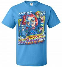 Buy Give Me The Power Chucky Adult Unisex T-Shirt Pop Culture Graphic Tee (S/Pacific Blue