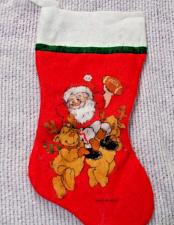Buy Christmas Stocking Santa and Reindeer Playing Football 15 Inches Long Red White