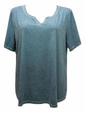 Buy TERRA & SKY T-Shirt Women Notch Neck Tee PLUS SIZE 4X Solid Blue Short Sleeves