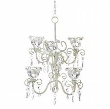 Buy *16077U - Crystal Blooms Double 6 Glass Cup Ivory Metal Candle Chandelier