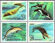 Buy 1990 25c Sea Creatures, Killer Whale, Block of 4 Scott 2508-11 Mint F/VF NH