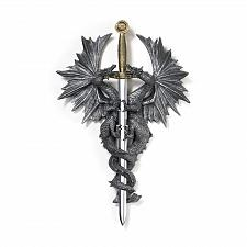 Buy 36247U - Entwined Double Dragon Medieval Dagger Wall Plaque