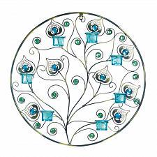 Buy *17960U - Peacock Inspired Circular Worn Metal 7 Cup Candle Wall Sconce