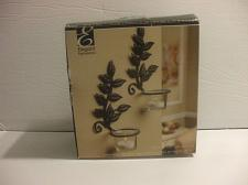 Buy 2 Iron Leaf Sconces With Glass Cups 8 Inches Tall