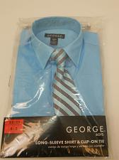 Buy Boys Dress Shirt Clip on Tie SIZE XS 4-5 Solid Blue Collared Neck Long Sleeves