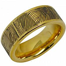 Buy coi Jewelry Tungsten Carbide Ring With Fingerprint Engraving