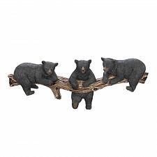 Buy *16200U - Black Bear Trio On Log 3 Paw Hook Wall Plaque