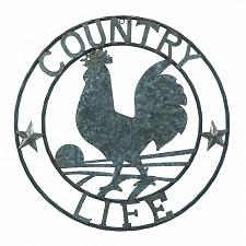 """Buy *18362U - Galvanized 24"""" Round Rooster Country Life Art Sclupture Wall Decor"""