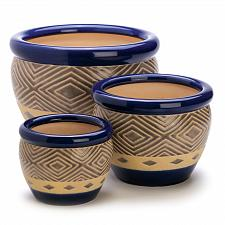 Buy 13368U - Cobalt Blue Pattern Ceramic Planter Plant Pot Trio 7, 9, 12 Inch