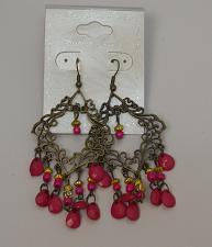Buy Women Pink Beaded Earrings Drop Dangle Bronze Tones Fashion Hook Fasteners FASH