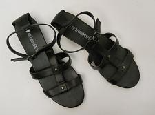 Buy Womens Sandals T-Strap SIZE 10 NO BOUNDARIES Solid Black Ankle Straps Buckle