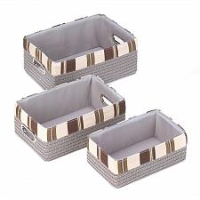 Buy 15164U - Taupe Woven Nesting Baskets Lined Silver Handles Set of 3