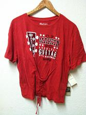 Buy NWT Women's LUCKY BRAND Corset Martin Guitar Logo Graphic Red S/S T Shirt XL New