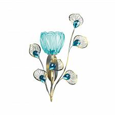 Buy *18048U - Peacock Blossom Single Turquiose Fluted Cup Wall Sconce