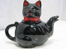 Buy Redware Black Cat Tea Pot Shafford Handpainted Japan Vintage 1950's Small AS IS