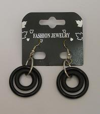 Buy Women Earrings Black Circles Fashion Drop Dangle Silver Tones Hook Fastener FASH