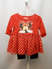 Buy DISNEY Girls Dress Legging Set Size 2T Red Polka Dot Chiffon Skirt Scoop Neck