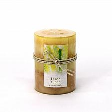 Buy :10672U - Lemon Sugar Scented Yellow Tri-color Paraffin Wax 3X4 Pillar Candle
