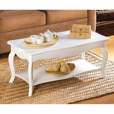 Buy 13226U - Casual Cottage Style Coffee Table White Finish MDF Wood
