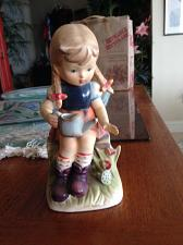 """Buy Adorable sculpture girl with flower watering pitcher by erich stauffer 7.75"""""""