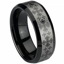 Buy coi Jewelry Black Tungsten Carbide Cross Wedding Band Ring