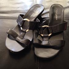 Buy women's shoes heeled sandals leather upper size 7W by Andrew Geller