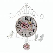 Buy *18005U - White Iron Birdcage Country Rose Pedulum Style Wall Clock