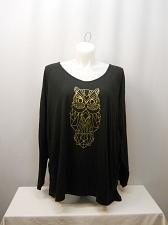 Buy Womens Knit Top Glitter Gold Owl PLUS SIZE 4X JMS Solid Black V-Neck Long Sleeve