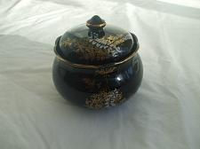 Buy Black Glass Candy Or Sugar Dish With Lid Gold Paint Decoration Trim And Design
