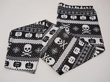 Buy Women Leggings HALLOWEEN Fair Isle Skulls Seamless Ankle SIZE XL Inseam 27