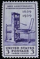 Buy 1939 3c Printing in Colonial America, 300th Anniversary Scott 857 Mint F/VF NH