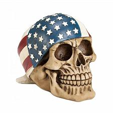Buy *17677U - Skull American Flag Bandana Skeleton Head Figurine