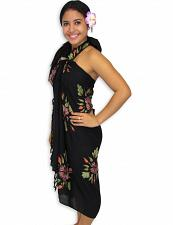 Buy Black Aloha Hibiscus Sarong #KMI-7051 w/ Coconut Tie Accessory