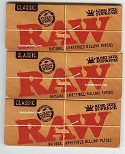 Buy 3 PACKS RAW CLASSIC KING SIZE SUPREME Natural Unrefined Cigarette Rolling Papers