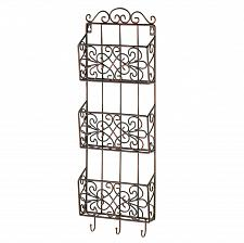 Buy *15958U - Vintage Charm Triple Basket Black Metal Wall Rack 3 Hooks