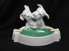 Buy Vintage Porcelain Dogs Figural Ashtray Snuffer Japan Westies Maruyama Toki Yamas