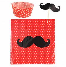 Buy *16436U - Mustache Cupcake Liner Napkins & Toppers Party Pack
